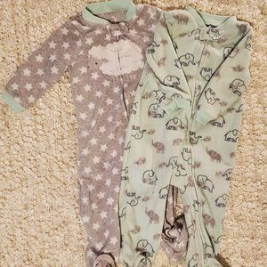 Bundle of footed fleece PJs by Carters Size 6-9 mo